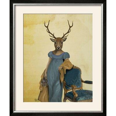 """'Deer in Blue Dress' Framed Print Frame: Allegro Silver Framed, Size: 33"""" H x 28"""" W 25D45D3337154D86AAF8F228187492AE"""