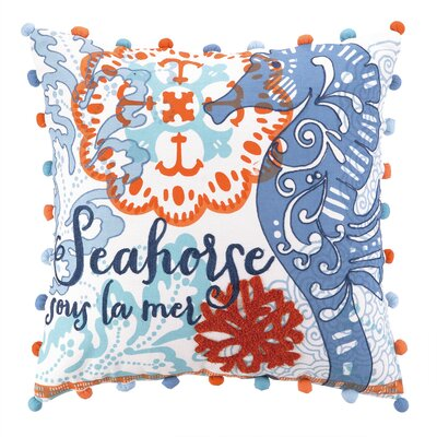 Jennifer Brinley Embroidery North Shore Seahorse Cotton Throw Pillow
