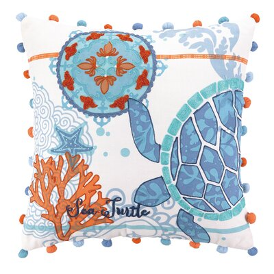 Jennifer Brinley Embroidery North Shore Turtle Cotton Throw Pillow