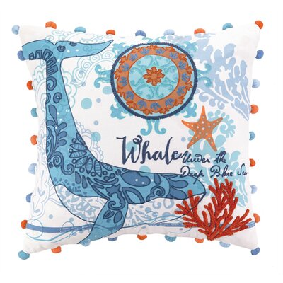 Jennifer Brinley Embroidery North Shore Whale Cotton Throw Pillow