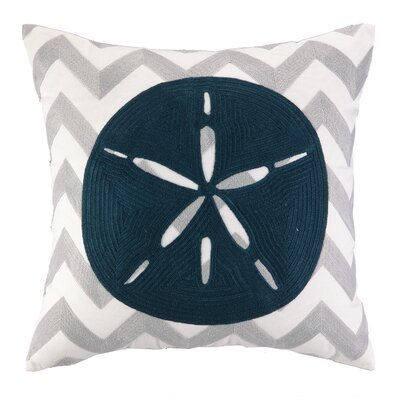 Nautical Embroidery Sand Dollar Cotton Throw Pillow