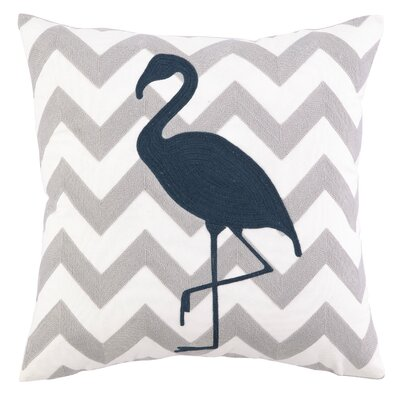 Nautical Embroidery Flamingo Cotton Throw Pillow