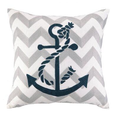 Nautical Embroidery Anchor Cotton Throw Pillow