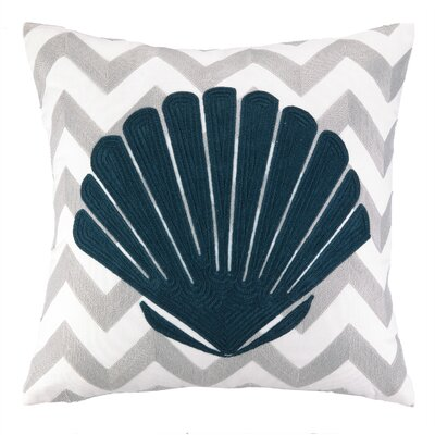 Nautical Embroidery Seashell Cotton Throw Pillow