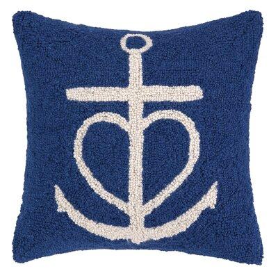 Nautical Hook Anchor Heart Throw Pillow Color: Blue