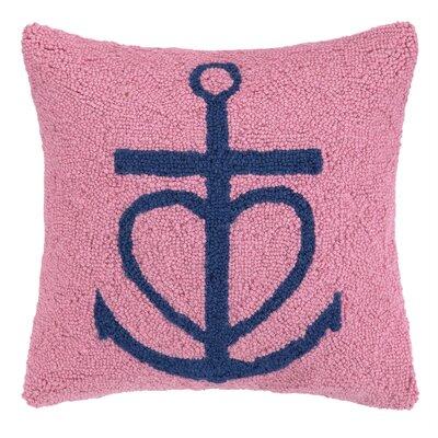 Nautical Hook Anchor Heart Throw Pillow Color: Pink