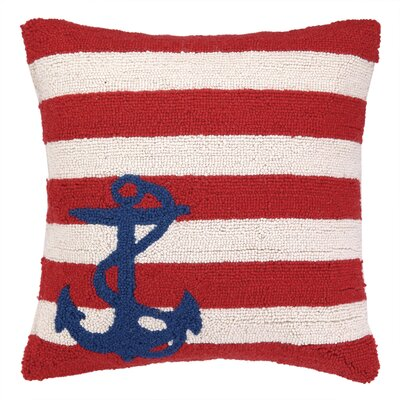 Nautical Hook Anchor Stripes Throw Pillow Color: Red