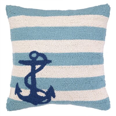 Nautical Hook Anchor Stripes Throw Pillow Color: Blue
