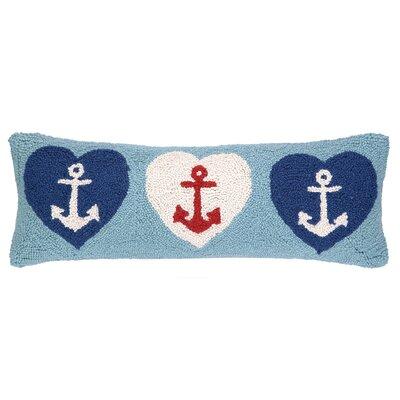 Nautical Hook Anchor Hearts Lumbar Pillow