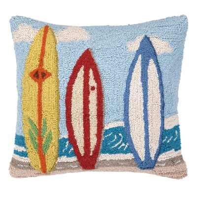 Nautical Hook Surf Boards Throw Pillow