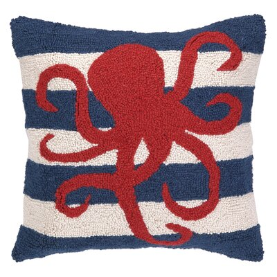 Nautical Hook Octopus Stripe Throw Pillow
