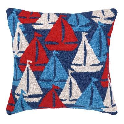 Nautical Hook Sailboats Away Throw Pillow