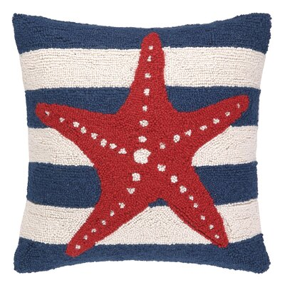 Nautical Hook Seastar Stripe Throw Pillow