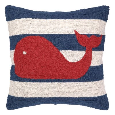Nautical Hook Whale Stripe Throw Pillow