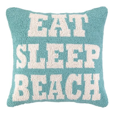 Nautical Hook Eat Sleep Beach Throw Pillow