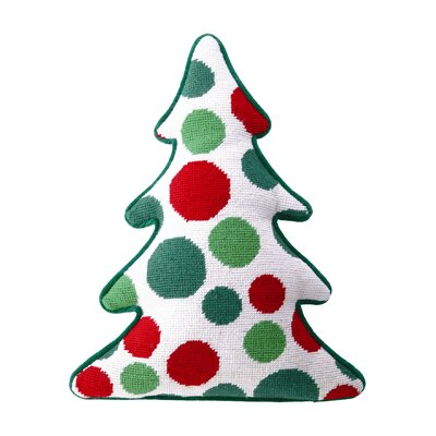 Needlepoint Dots Tree Shaped Wool Throw Pillow