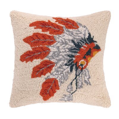 Native American Headdress Hook Wool Throw Pillow