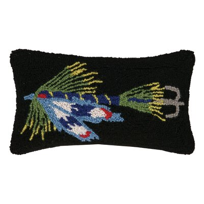 Fishing Lure in Hook Wool Lumbar Pillow