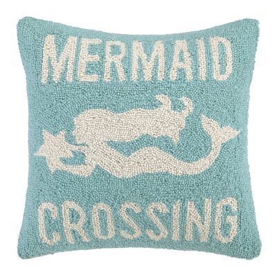 Mermaid Crossing Hook Wool Throw Pillow