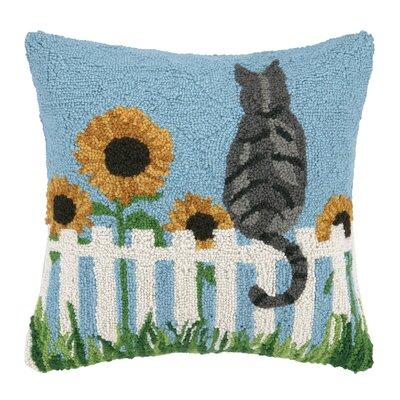 Cat and Sun Flowers Hook Wool Throw Pillow