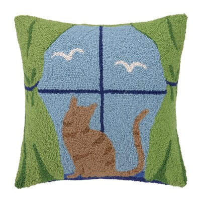 Cat Watching Birds Hook Wool Throw Pillow