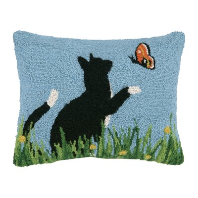 Black Cat and Butterfly Hook Wool Throw Pillow