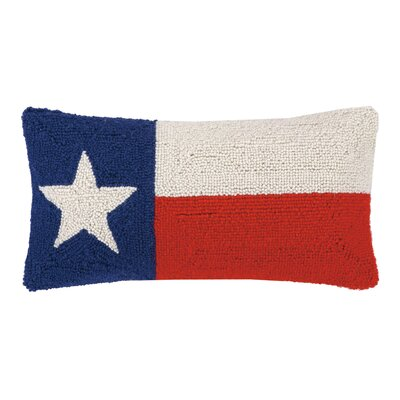 Texas State Flag Hook Wool Lumbar Pillow
