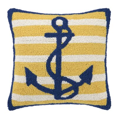 Anchor Stripe Hook Wool Throw Pillow