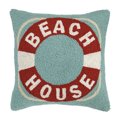 Beach House Life Buoy Hook Wool Throw Pillow