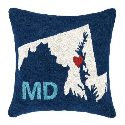 Maryland State Hook Wool Throw Pillow