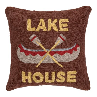 Lake House Canoe Hook Wool Throw Pillow