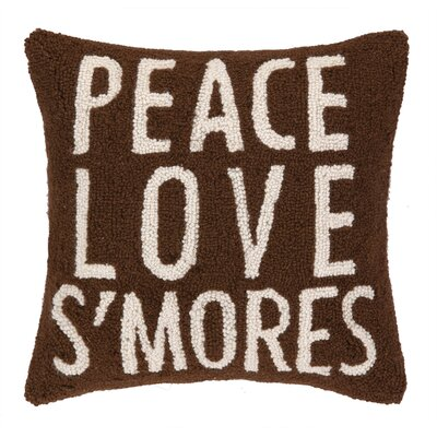 Peace Love SMores Hook Wool Throw Pillow