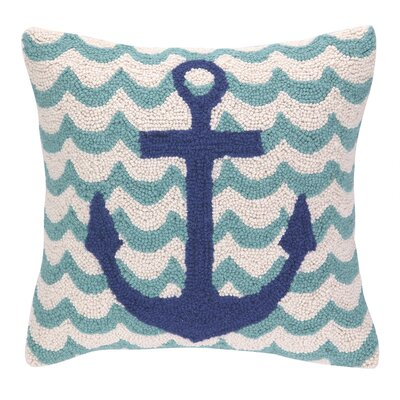 Anchor in Waves Hook Wool Throw Pillow