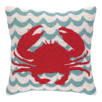 Crabs in Waves Hook Wool Throw Pillow