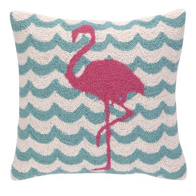 Flamingo in Waves Hook Wool Throw Pillow