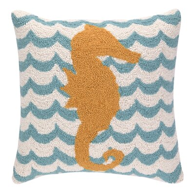 Seahorse in Waves Hook Wool Throw Pillow