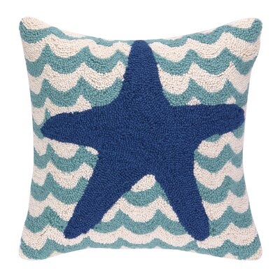 Starfish in Waves Hook Wool Throw Pillow