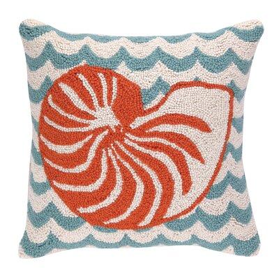 Nautilus in Waves Hook Wool Throw Pillow