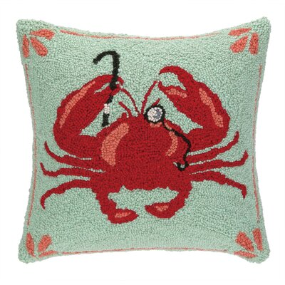 Crab with Monocle Hook Wool Throw Pillow