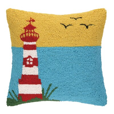 Lighthouse with Birds Hook Wool Throw Pillow