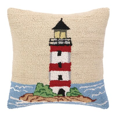 Beach Light Tower Hook Wool Throw Pillow