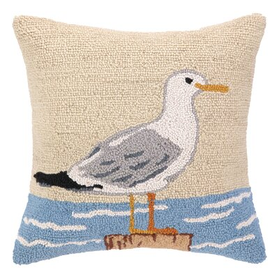 Seagull Hook Wool Throw Pillow