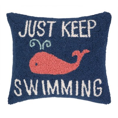 Keep Swimming Hook Wool Throw Pillow