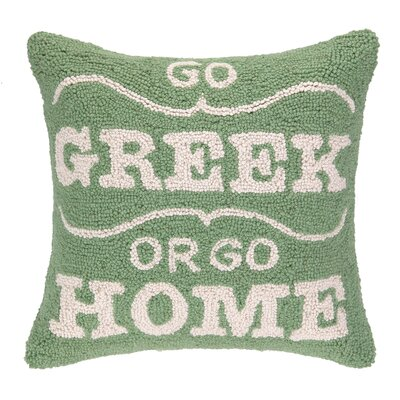 Go Greek or Go Home Hook Wool Throw Pillow
