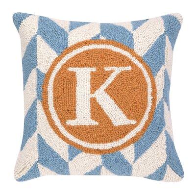 Monogram Letter K Hook Wool Throw Pillow