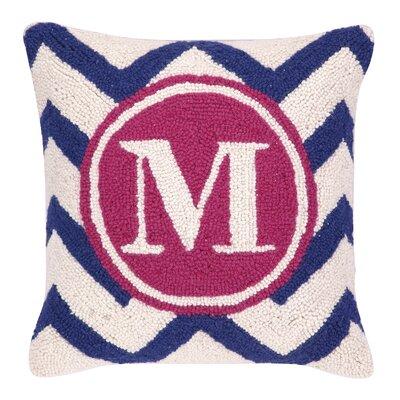 Monogram Letter M Hook Wool Throw Pillow
