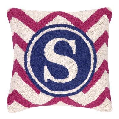 Monogram Letter S Hook Wool Throw Pillow