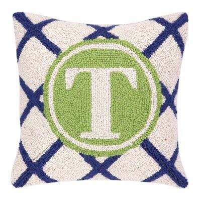 Monogram Letter T Hook Wool Throw Pillow
