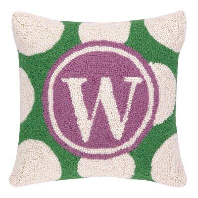 Monogram Letter W Hook Wool Throw Pillow
