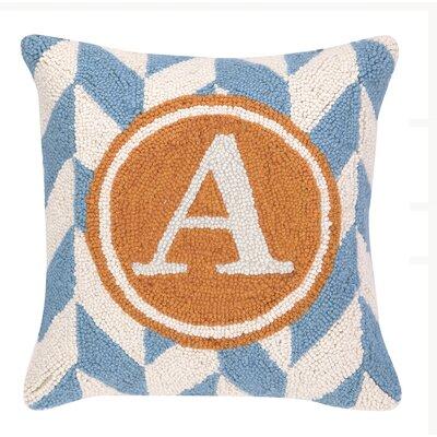 Monogram Letter A Hook Wool Throw Pillow